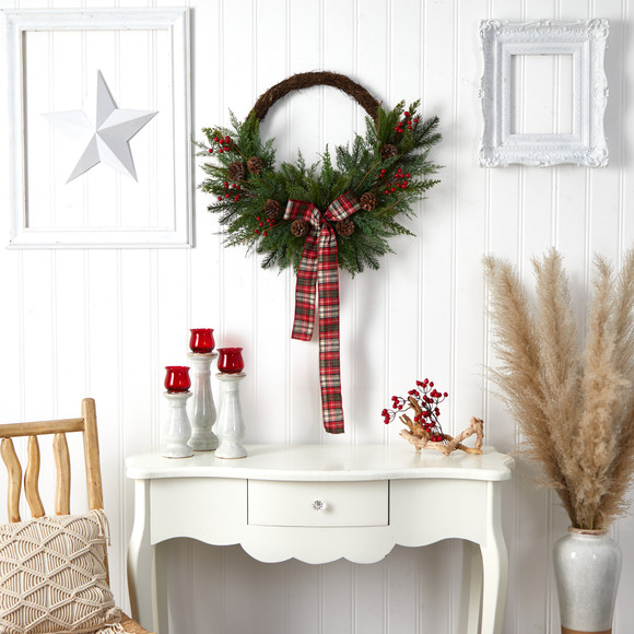 28 Pine and Pinecone Artificial Christmas Wreath with Decorative Bow - SKU #W1261 - 3