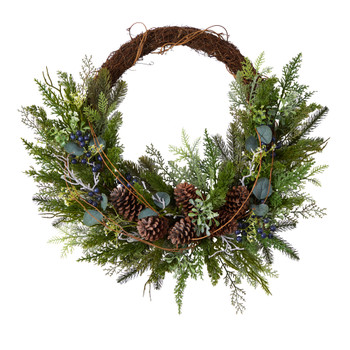 30 Pine and Pinecone Artificial Christmas Wreath on Twig Ring - SKU #W1262