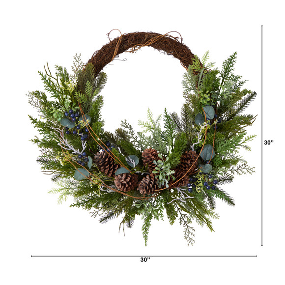 30 Pine and Pinecone Artificial Christmas Wreath on Twig Ring - SKU #W1262 - 1