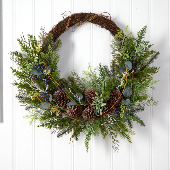30 Pine and Pinecone Artificial Christmas Wreath on Twig Ring - SKU #W1262 - 2