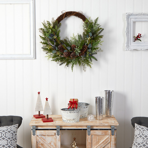 30 Pine and Pinecone Artificial Christmas Wreath on Twig Ring - SKU #W1262 - 3