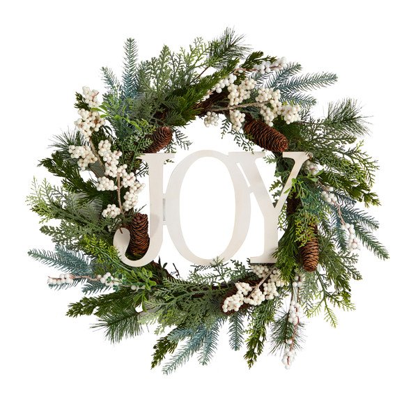 24 Christmas Joy Greenery Holiday Artificial Wreath - SKU #W1263