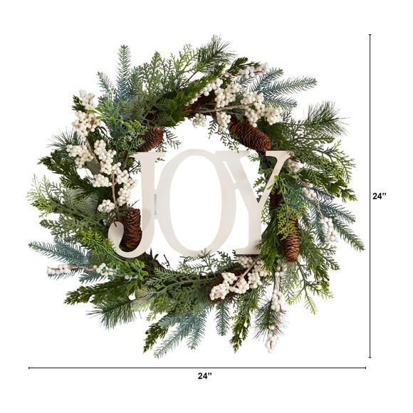 24 Christmas Joy Greenery Holiday Artificial Wreath - SKU #W1263 - 1