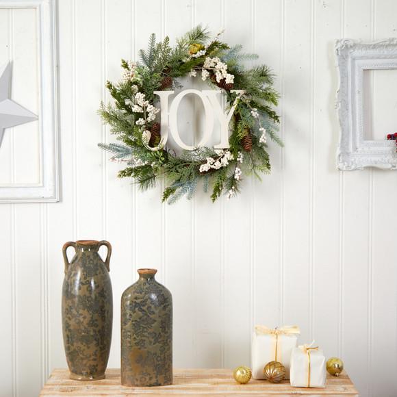 24 Christmas Joy Greenery Holiday Artificial Wreath - SKU #W1263 - 2