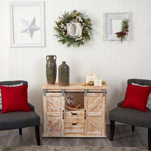 24 Christmas Joy Greenery Holiday Artificial Wreath - SKU #W1263 - 3