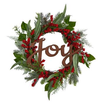 24 Joy and Berries Artificial Christmas Wreath - SKU #W1264