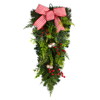 26 Holiday Christmas Bells and Bow Artificial Swag - SKU #W1266