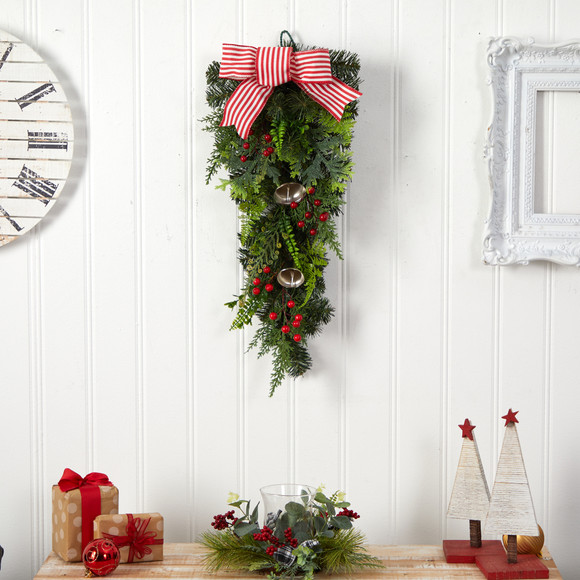 26 Holiday Christmas Bells and Bow Artificial Swag - SKU #W1266 - 2