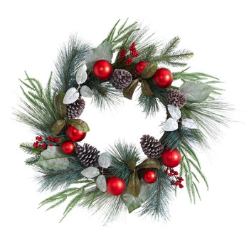 24 Assorted Pine Pinecone and Berry Artificial Christmas Wreath with Red Ornaments - SKU #W1267