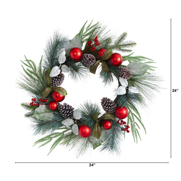 24 Assorted Pine Pinecone and Berry Artificial Christmas Wreath with Red Ornaments - SKU #W1267 - 1