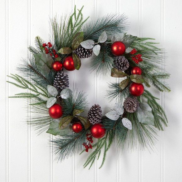24 Assorted Pine Pinecone and Berry Artificial Christmas Wreath with Red Ornaments - SKU #W1267 - 2