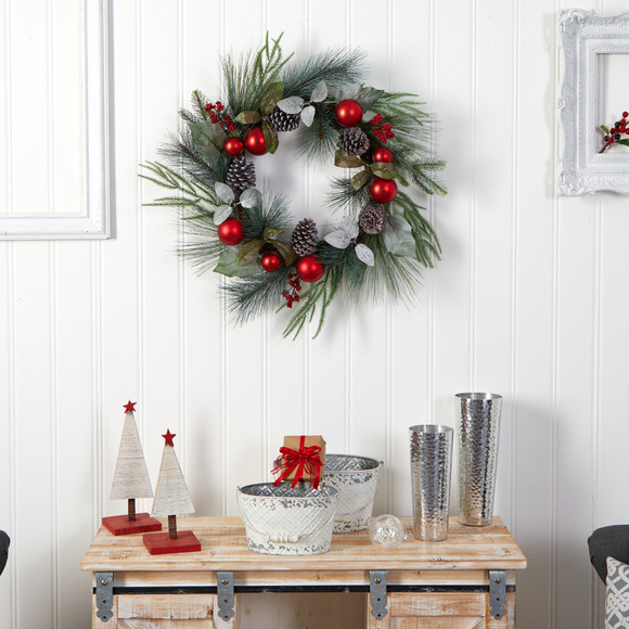 24 Assorted Pine Pinecone and Berry Artificial Christmas Wreath with Red Ornaments - SKU #W1267 - 3