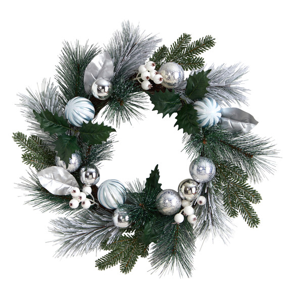 24 Pinecones and Berries Christmas Artificial Wreath with Silver Ornaments - SKU #W1268