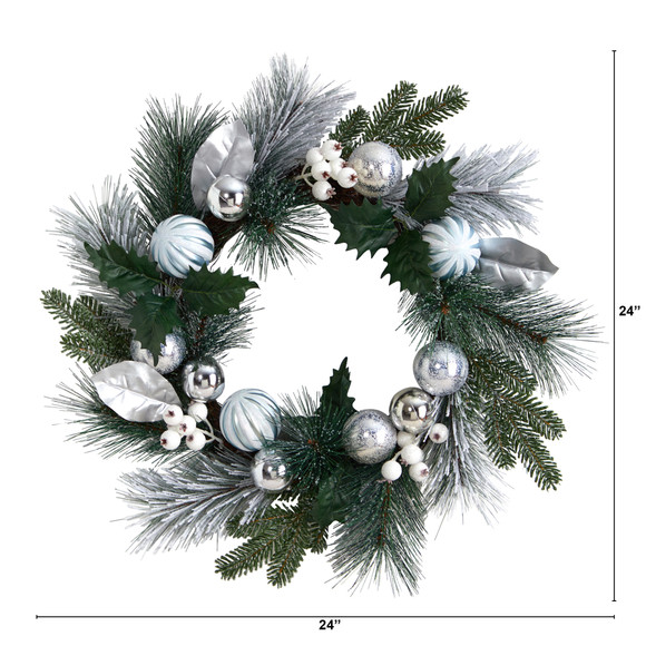 24 Pinecones and Berries Christmas Artificial Wreath with Silver Ornaments - SKU #W1268 - 1