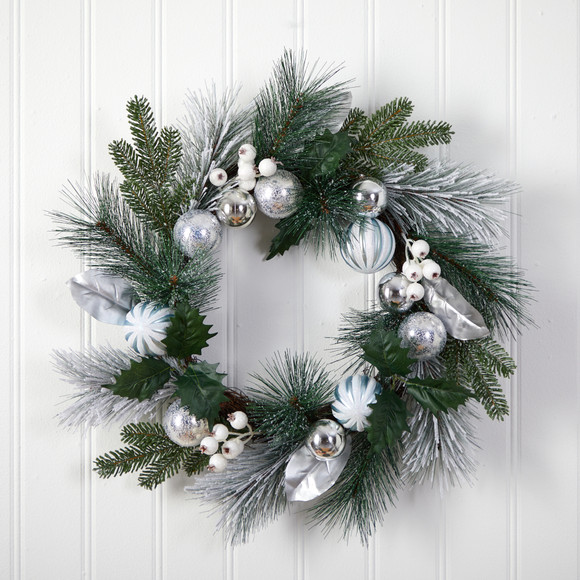 24 Pinecones and Berries Christmas Artificial Wreath with Silver Ornaments - SKU #W1268 - 2