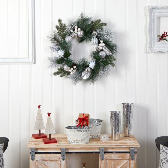 24 Pinecones and Berries Christmas Artificial Wreath with Silver Ornaments - SKU #W1268 - 3