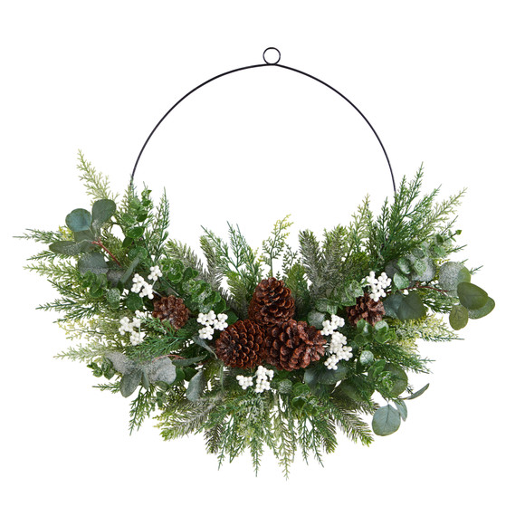 28 Christmas Pine Eucalyptus and Berries Metal Circlet Artificial Wreath - SKU #W1269