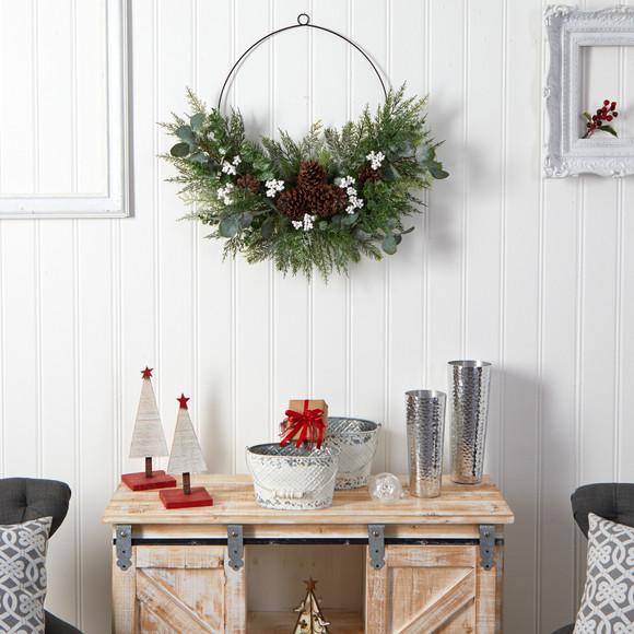 28 Christmas Pine Eucalyptus and Berries Metal Circlet Artificial Wreath - SKU #W1269 - 3