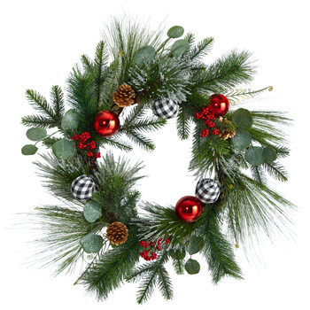 24 Berry and Pinecone Artificial Christmas Wreath with Ornaments - SKU #W1270