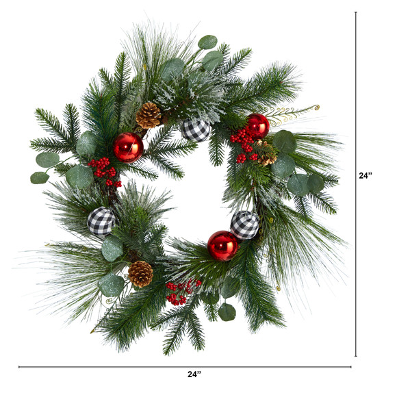 24 Berry and Pinecone Artificial Christmas Wreath with Ornaments - SKU #W1270 - 1