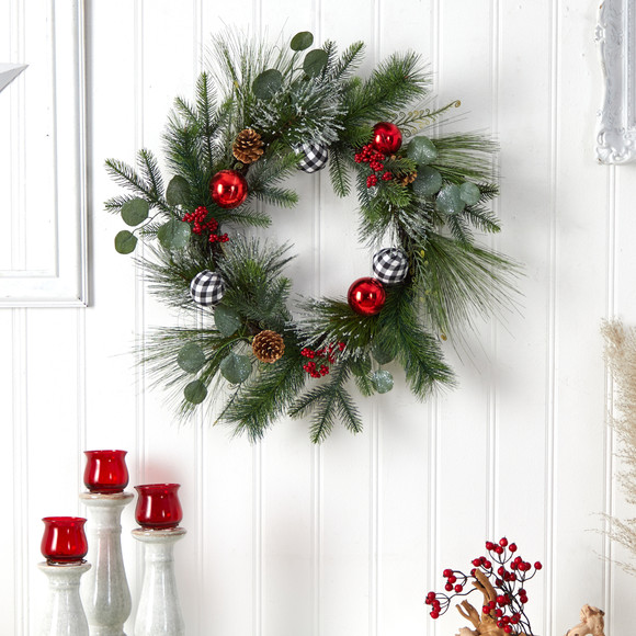 24 Berry and Pinecone Artificial Christmas Wreath with Ornaments - SKU #W1270 - 2