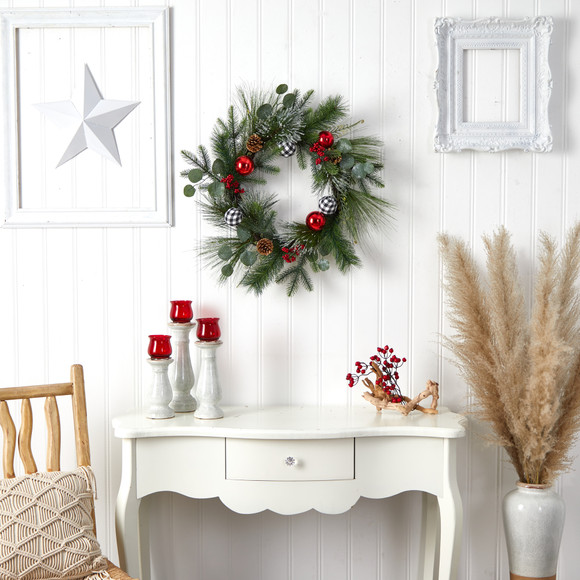 24 Berry and Pinecone Artificial Christmas Wreath with Ornaments - SKU #W1270 - 3
