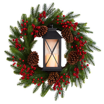 28 Berries and Pine Artificial Christmas Wreath with Lantern and Included LED Candle - SKU #W1271