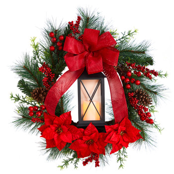 28 Poinsettia and Berry Holiday Lantern Christmas Wreath with LED Candle - SKU #W1272