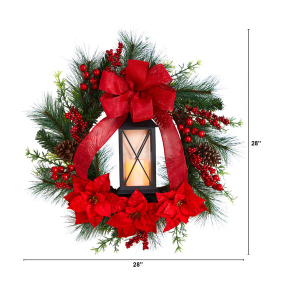 28 Poinsettia and Berry Holiday Lantern Christmas Wreath with LED Candle - SKU #W1272 - 1