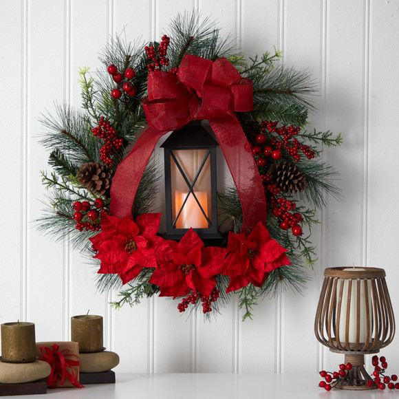28 Poinsettia and Berry Holiday Lantern Christmas Wreath with LED Candle - SKU #W1272 - 2