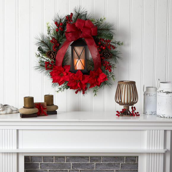 28 Poinsettia and Berry Holiday Lantern Christmas Wreath with LED Candle - SKU #W1272 - 3