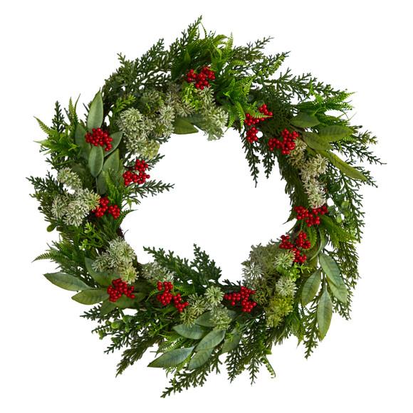 24 Cedar Eucalyptus and Berries Artificial Christmas Wreath - SKU #W1273