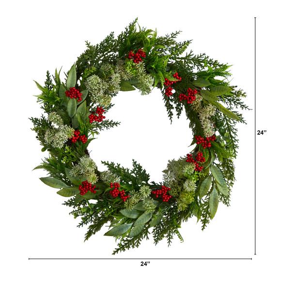 24 Cedar Eucalyptus and Berries Artificial Christmas Wreath - SKU #W1273 - 1