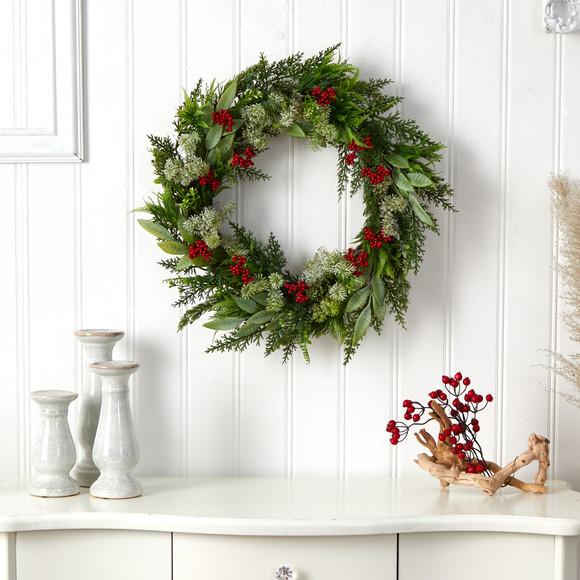 24 Cedar Eucalyptus and Berries Artificial Christmas Wreath - SKU #W1273 - 2