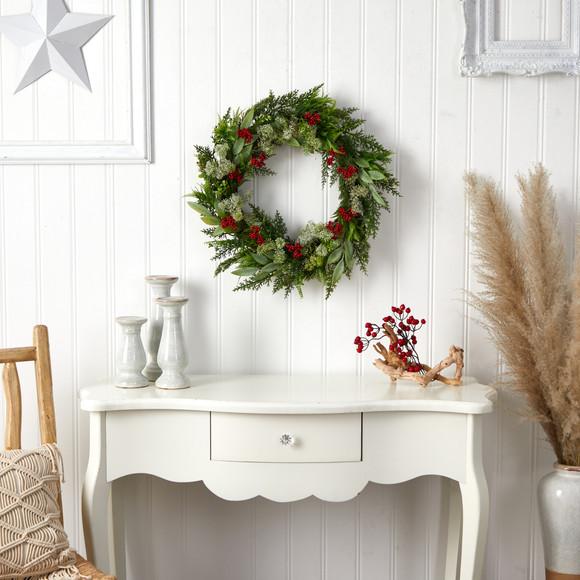 24 Cedar Eucalyptus and Berries Artificial Christmas Wreath - SKU #W1273 - 3