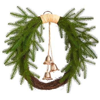24 Holiday Christmas Pine and Hanging Bells Wreath - SKU #W1276
