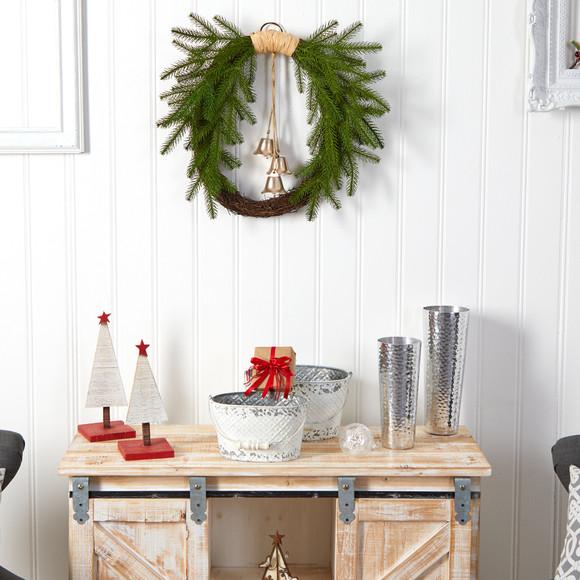 24 Holiday Christmas Pine and Hanging Bells Wreath - SKU #W1276 - 3