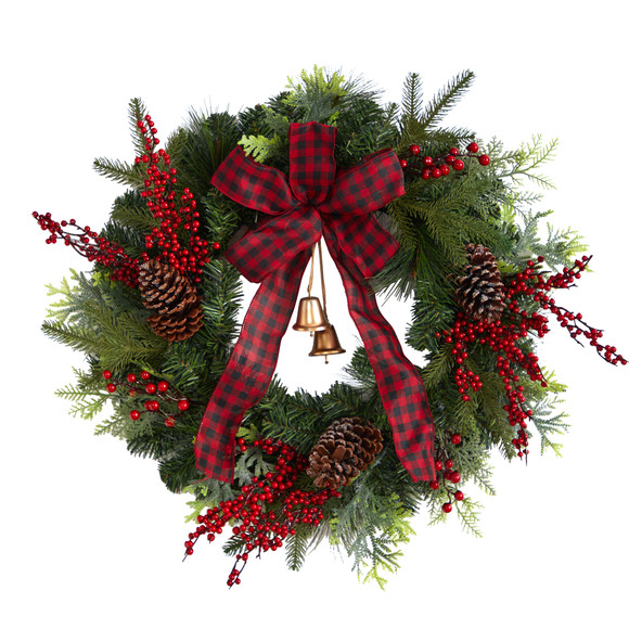 24 Decorated Christmas Artificial Wreath with Bow and 130 Bendable Branches - SKU #W1278