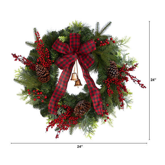 24 Decorated Christmas Artificial Wreath with Bow and 130 Bendable Branches - SKU #W1278 - 1