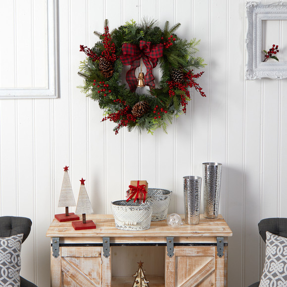 24 Decorated Christmas Artificial Wreath with Bow and 130 Bendable Branches - SKU #W1278 - 3