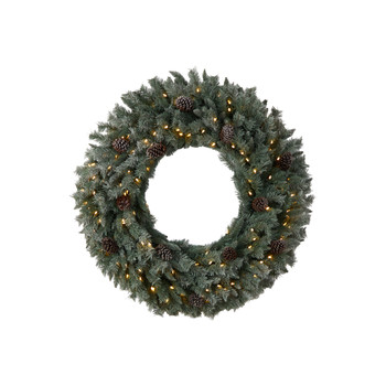 4 Large Flocked Christmas Wreath with Pinecones 150 Clear LED Lights and 360 Bendable Branches - SKU #W1280
