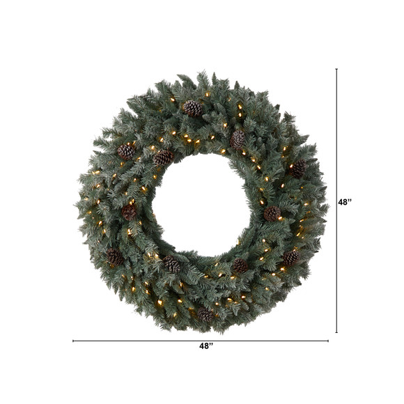 4 Large Flocked Christmas Wreath with Pinecones 150 Clear LED Lights and 360 Bendable Branches - SKU #W1280 - 1