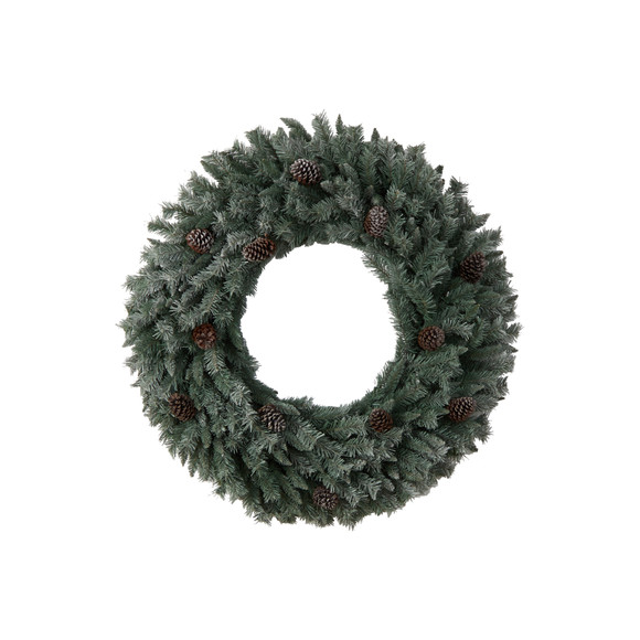 4 Large Flocked Christmas Wreath with Pinecones 150 Clear LED Lights and 360 Bendable Branches - SKU #W1280 - 2