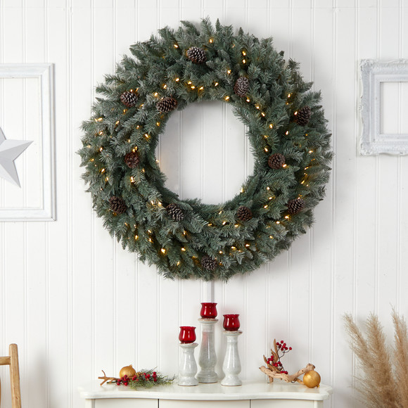 4 Large Flocked Christmas Wreath with Pinecones 150 Clear LED Lights and 360 Bendable Branches - SKU #W1280 - 3