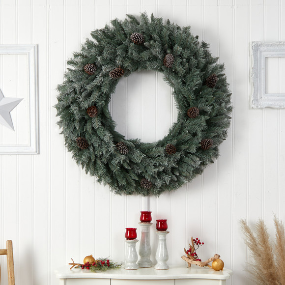 4 Large Flocked Christmas Wreath with Pinecones 150 Clear LED Lights and 360 Bendable Branches - SKU #W1280 - 4