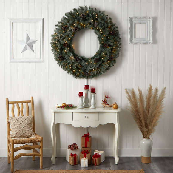 4 Large Flocked Christmas Wreath with Pinecones 150 Clear LED Lights and 360 Bendable Branches - SKU #W1280 - 5