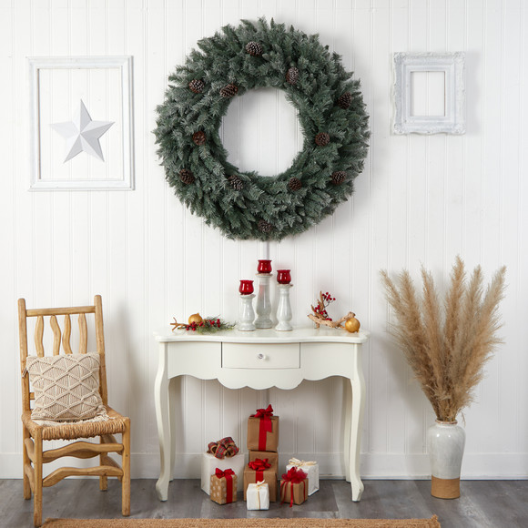 4 Large Flocked Christmas Wreath with Pinecones 150 Clear LED Lights and 360 Bendable Branches - SKU #W1280 - 6