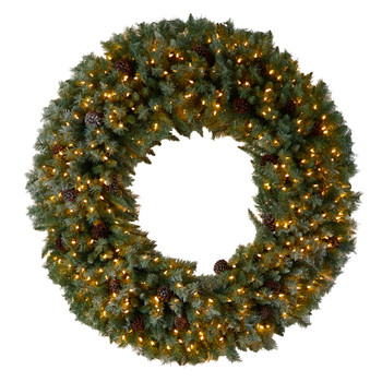 5 Giant Flocked Christmas Wreath with Pinecones 400 Clear LED Lights and 760 Bendable Branches - SKU #W1281