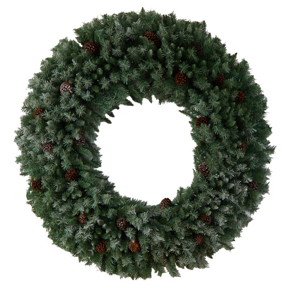 5 Giant Flocked Christmas Wreath with Pinecones 400 Clear LED Lights and 760 Bendable Branches - SKU #W1281 - 1
