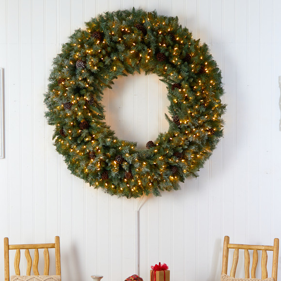 5 Giant Flocked Christmas Wreath with Pinecones 400 Clear LED Lights and 760 Bendable Branches - SKU #W1281 - 2